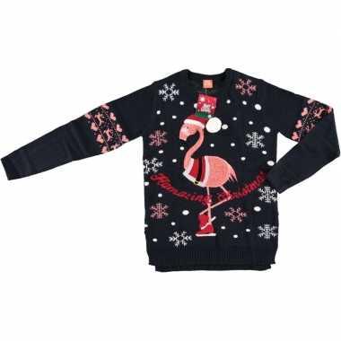 Donkerblauwe dames kersttrui met flamingo