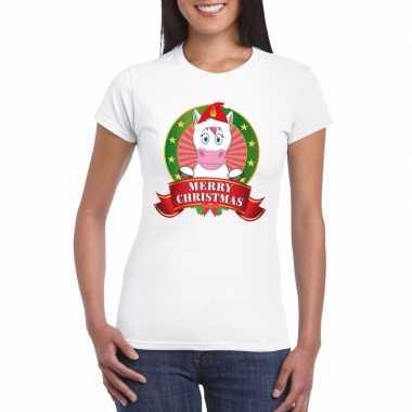 Eenhoorn kerst t-shirt wit merry christmas voor dames