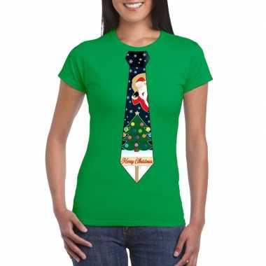 Fout kerst t-shirt groen met kerstboom stropdas voor dames