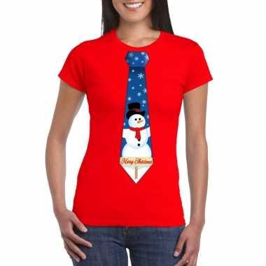 Fout kerst t-shirt rood met sneeuwpop stropdas voor dames