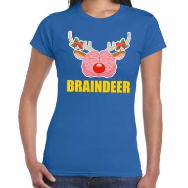 Foute kerst t-shirt braindeer blauw voor dames