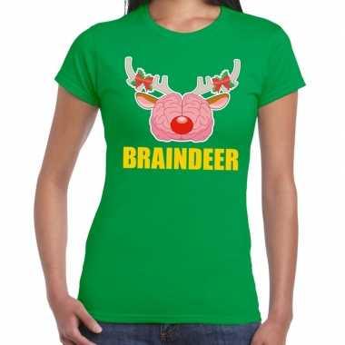 Foute kerst t-shirt braindeer groen voor dames