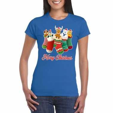 Foute kerst t-shirt kerstsokken merry christmas blauw voor dames