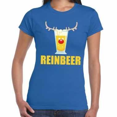 Foute kerst t-shirt reinbeer blauw voor dames