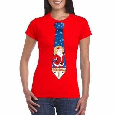 Foute kerst t-shirt stropdas met kerstman print rood voor dames