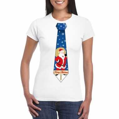 Foute kerst t-shirt stropdas met kerstman print wit voor dames