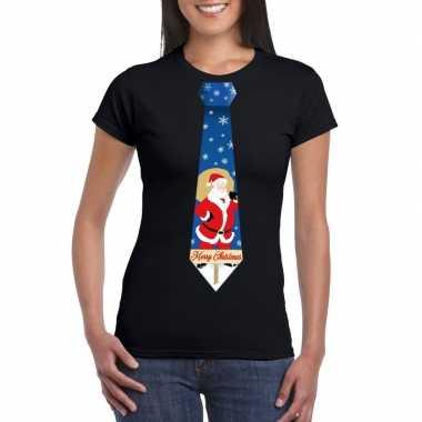 Foute kerst t-shirt stropdas met kerstman print zwart voor dames