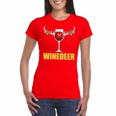 Foute kerst t-shirt winedeer rood voor dames