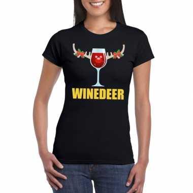 Foute kerst t-shirt winedeer zwart voor dames