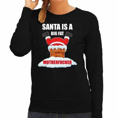 Foute kerstsweater / outfit santa is a big fat motherfucker zwart voor dames