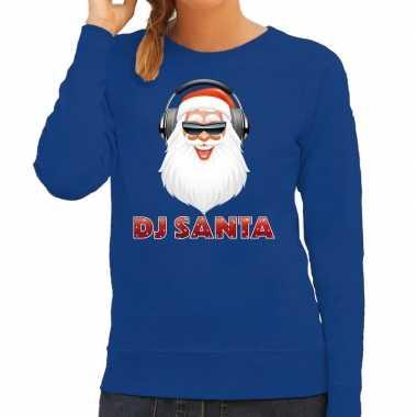 Foute kersttrui blauw dj santa met koptelefoon voor dames