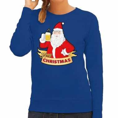 Foute kersttrui blauw kerstman met een peul bier voor dames
