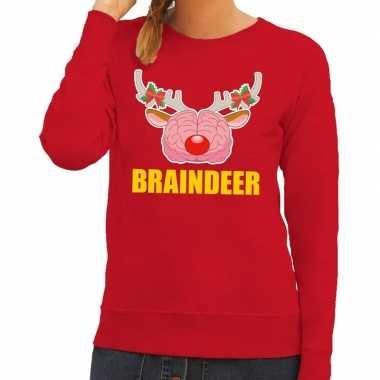 Foute kersttrui braindeer rood voor dames