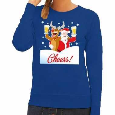 Foute kersttrui cheers met dronken kerstman blauw dames