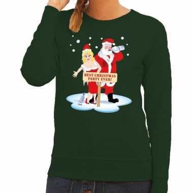 Foute kersttrui dronken kerstman en kerstvrouw groen dames