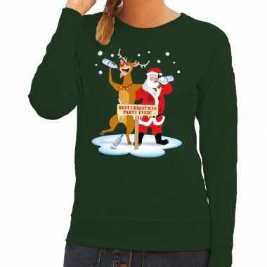 Foute kersttrui dronken kerstman en rendier rudolf groen dames