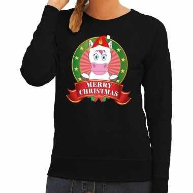 Foute kersttrui eenhoorn zwart merry christmas voor dames