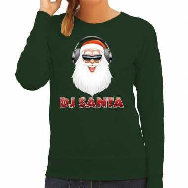 Foute kersttrui groen dj santa met koptelefoon voor dames