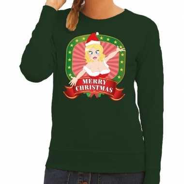 Foute kersttrui groen merry christmas kerstvrouw voor dames