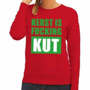 Foute kersttrui kerst is fucking kut rood voor dames