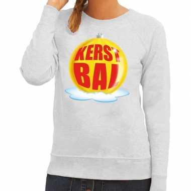 Foute kersttrui kerstbal geel op grijze sweater voor dames