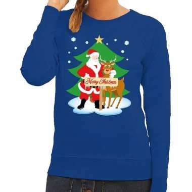 Foute kersttrui kerstman en rendier rudolf blauw dames