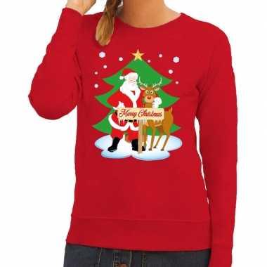 Foute kersttrui kerstman en rendier rudolf rood dames