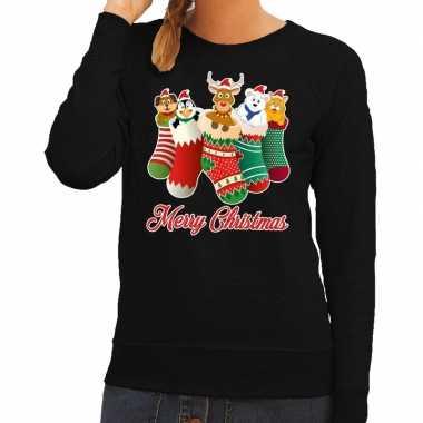 Foute kersttrui kerstsokken merry christmas zwart voor dames