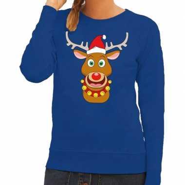 Foute kersttrui rendier rudolf met rode kerstmuts blauw dames