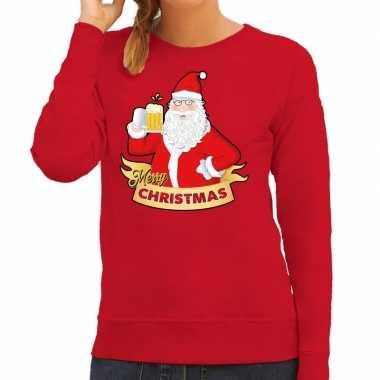 Foute kersttrui rood kerstman met een peul bier voor dames