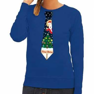 Foute kersttrui stropdas met kerst print blauw voor dames