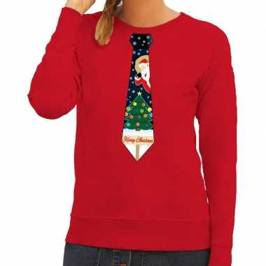 Foute kersttrui stropdas met kerst print rood voor dames