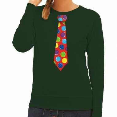 Foute kersttrui stropdas met kerstballen print groen voor dames