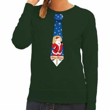 Foute kersttrui stropdas met kerstman print groen voor dames