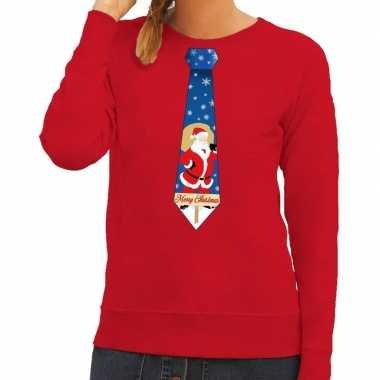 Foute kersttrui stropdas met kerstman print rood voor dames