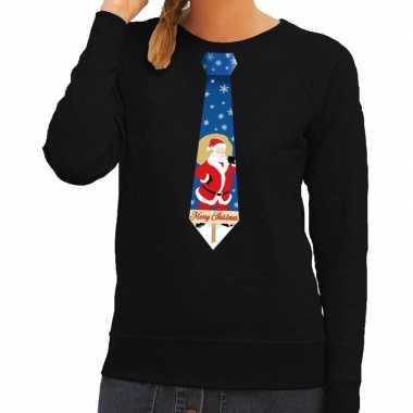 Foute kersttrui stropdas met kerstman print zwart voor dames