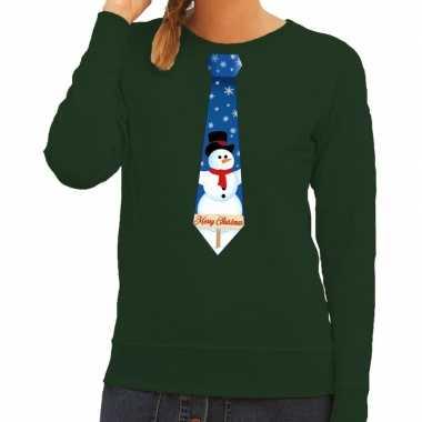 Foute kersttrui stropdas met sneeuwpop print groen voor dames