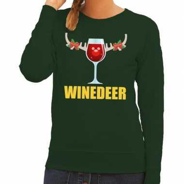 Foute kersttrui winedeer groen voor dames