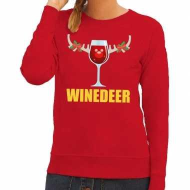 Foute kersttrui winedeer rood voor dames