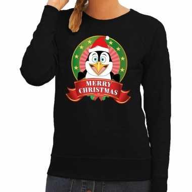 Foute kersttrui zwart merry christmas pinguin voor dames