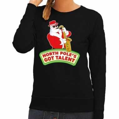 Foute kersttrui zwart north poles got talent voor dames