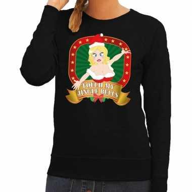Foute kersttrui zwart touch my jingle bells voor dames
