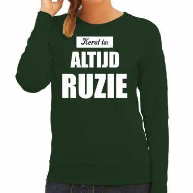 Groene foute kersttrui / sweater kerst is: altijd ruzie outfit dames