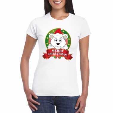 Ijsbeer kerst t-shirt wit merry christmas voor dames