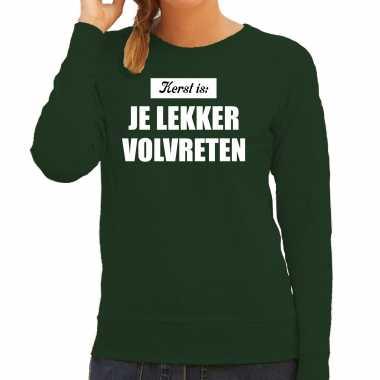 Kerst is: je lekker volvreten foute kersttrui / kerst outfit groen voor dames