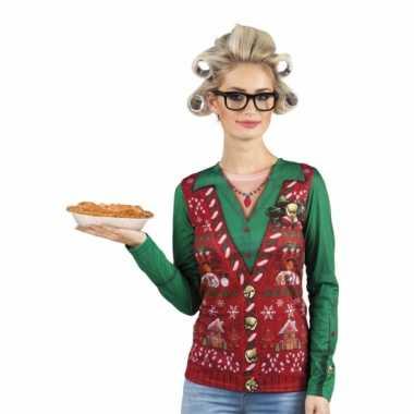 Kerst-shirt kerst gilet opdruk dames