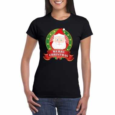 Kerst t-shirt met kerstman zwart merry christmas voor dames