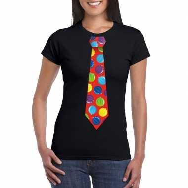 Kerst t-shirt stropdas met kerstballen print zwart voor dames