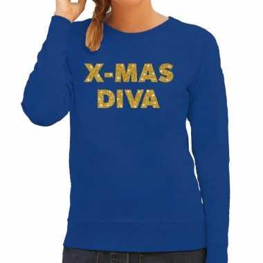 Kersttrui christmas diva gouden glitter letters blauw dames