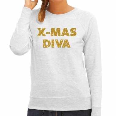 Kersttrui christmas diva gouden glitter letters grijs dames